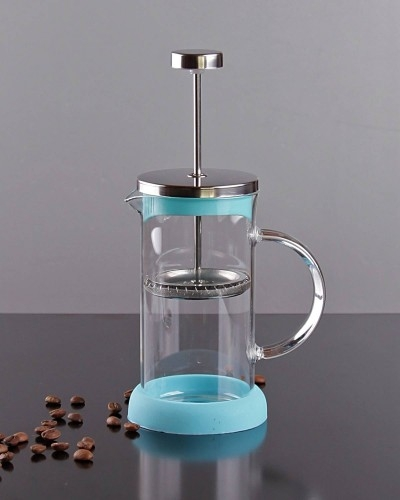 350ml Metal & Silikonlu & Cam French Press Mavi