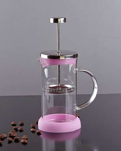 350ml Metal & Silikonlu & Cam French Press Pembe