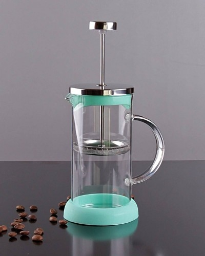 350ml Metal & Silikonlu & Cam French Press Yeşil