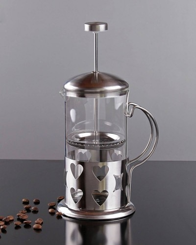 Kalp Desenli 600ml Metal French Press