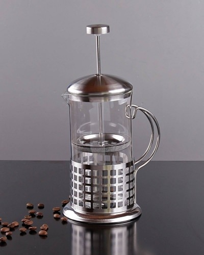 Kare Desenli 600ml Metal French Press
